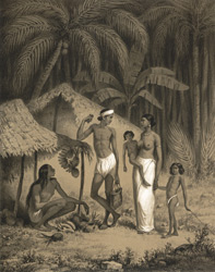 Ceylan, entre Colombo et Kandy, Mai 1841. [A young family outside a hut.]